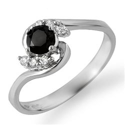 0.50 CTW VS Certified Black & White Diamond Ring 14K White Gold - REF-28N5Y - 14037