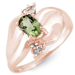 0.54 CTW Green Tourmaline & Diamond Ring 10K Rose Gold - REF-24N2Y - 11236