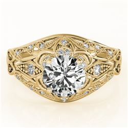0.87 CTW Certified VS/SI Diamond Solitaire Antique Ring 18K Yellow Gold - REF-145K3W - 27335