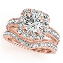 1.55 CTW Certified VS/SI Diamond 2Pc Wedding Set Solitaire Halo 14K Rose Gold - REF-234K8W - 30979
