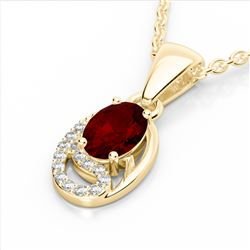 1.25 CTW Garnet & Micro Pave VS/SI Diamond Necklace 10K Yellow Gold - REF-18F9N - 22353