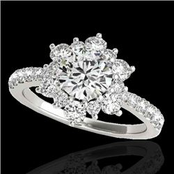 2 CTW H-SI/I Certified Diamond Solitaire Halo Ring 10K White Gold - REF-200A2X - 33706