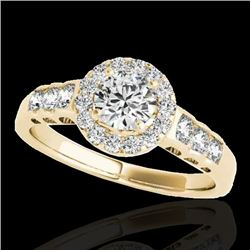 1.55 CTW H-SI/I Certified Diamond Solitaire Halo Ring 10K Yellow Gold - REF-180W2F - 34362