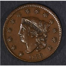 1833 LARGE CENT, AU/UNC VERY NICE!