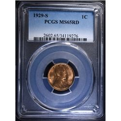 1929-S LINCOLN CENT PCGS MS-65 RD