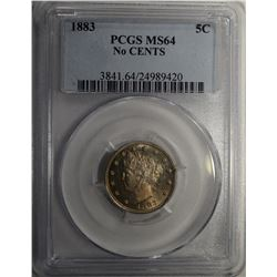 1883 NO CENTS LIBERTY V-NICKEL PCGS MS-64