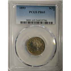 1893 LIBERTY NICKEL PCGS PR-65