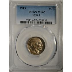1913 BUFFALO NICKEL TYPE-1 PCGS MS-65