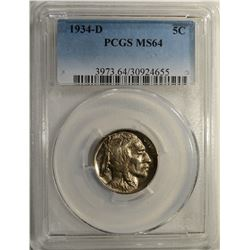 1934-D BUFFALO NICKEL PCGS MS-64