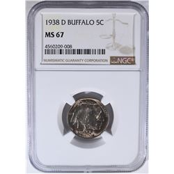 1938-D BUFFALO NICKEL NGC MS67