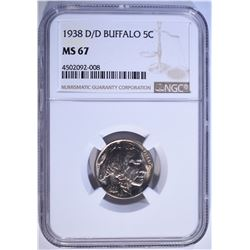 1938-D/D BUFFALO NICKEL NGC MS-67 SUPERB