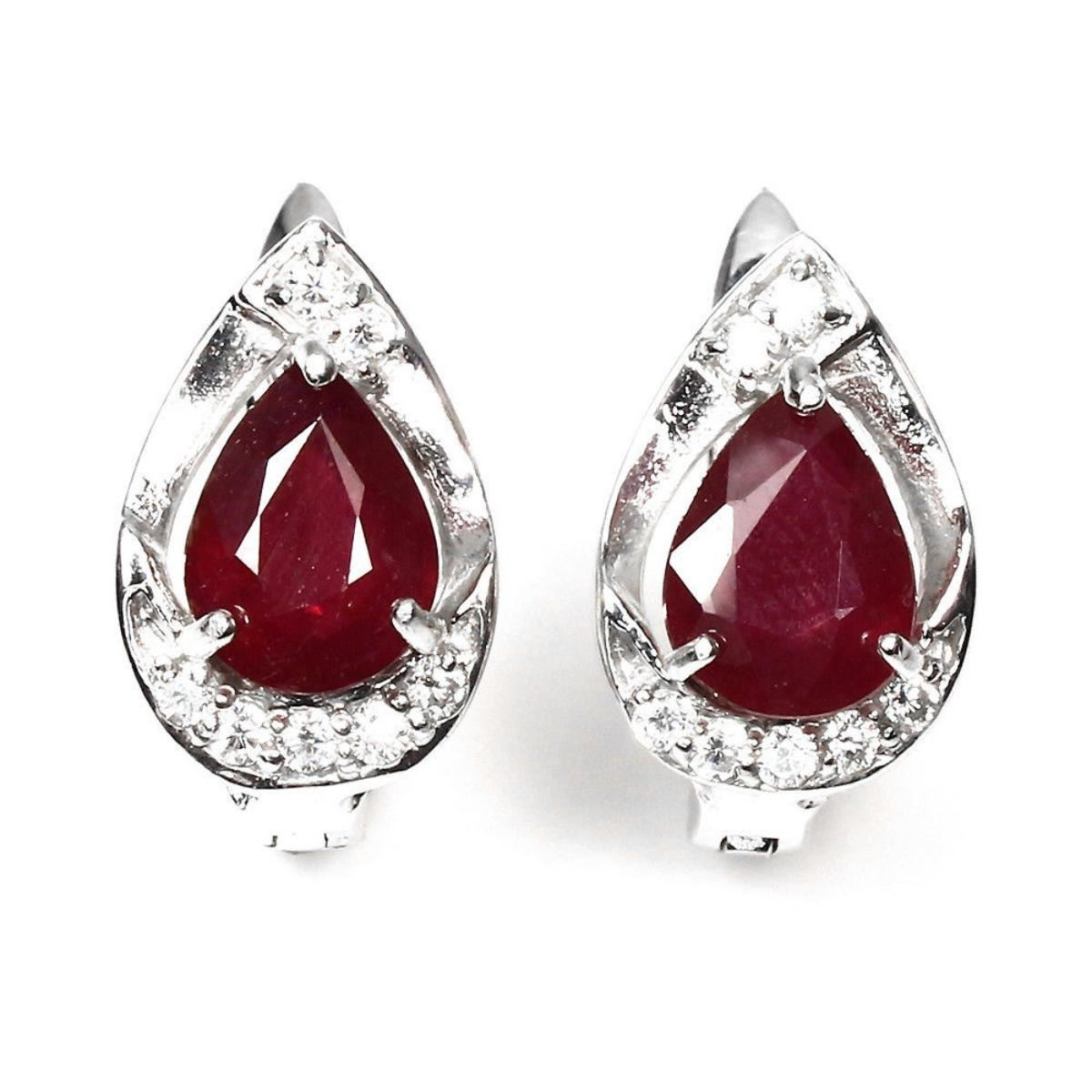 red earrings ruby blood genuine