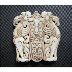 Old China White jade hand-carved phoenix Pendant
