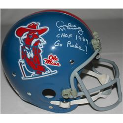 """Archie Manning Signed LE Ole Miss Full Size Throwback Suspension Helmet Inscribed """"CHOF 1989""""  """"Go R"""