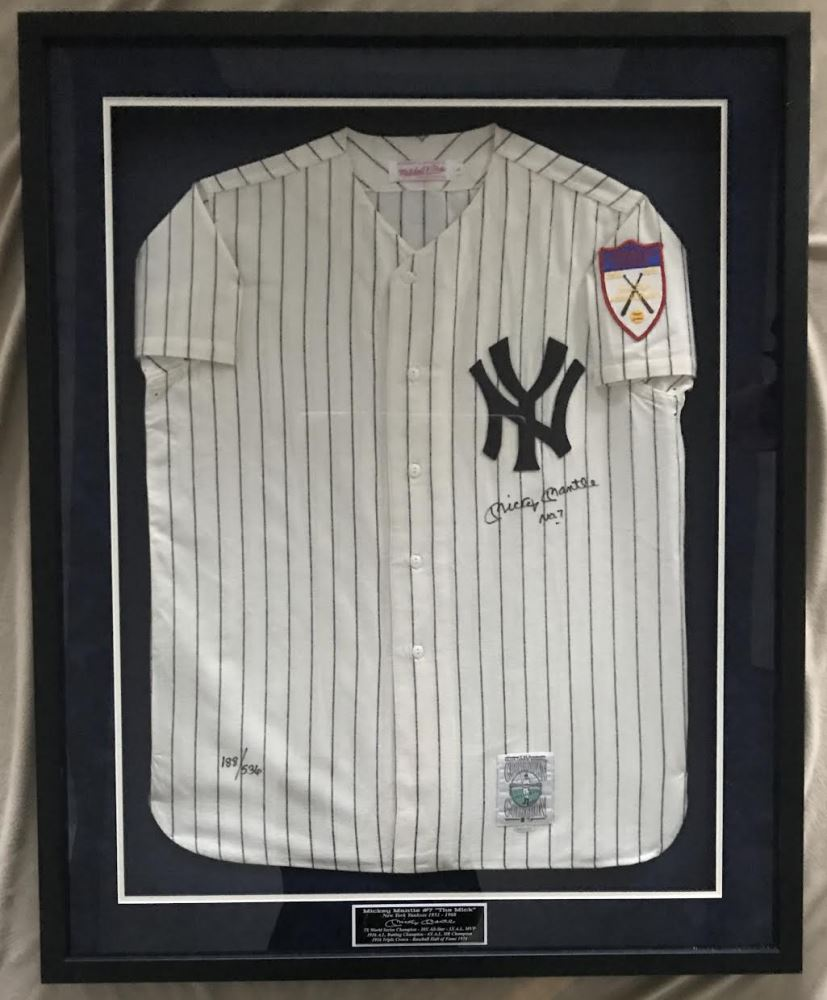 Image 1   Mickey Mantle Signed LE Yankees 1951 Rookie Year Mitchell Ness  34x42 Custom Framed 8f3255858ae