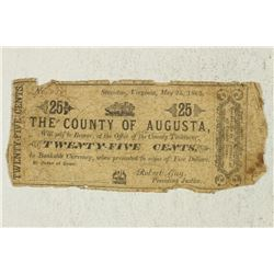 1862 COUNTY OF AUGUSTA 25 CENT OBSOLETE BANK NOTE