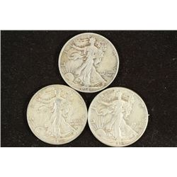 1941-S,42-D & 43 WALKING LIBERTY HALF DOLLARS