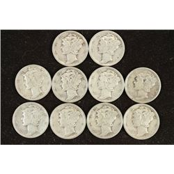 10 ASSORTED 1930'S MERCURY DIMES