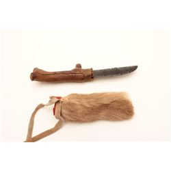 NATIVE INDIAN OBSIDIAN KNIFE