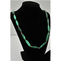 MALACHITE AND GREEN STONE BEAD NECKLACE