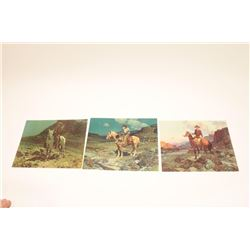 LOT 3 ORIGINAL WESTERN COLOR PRINTS