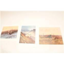 LOT OF 3 WESTERN & WILDLIFE COLOR PRINTS