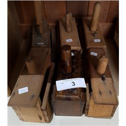 SIX ANTIQUE WOODEN BUTTER PRESSES