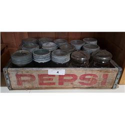 VINTAGE PEPSI CRATE W/APPROX 12 VINTAGE GLASS CANNING JARS