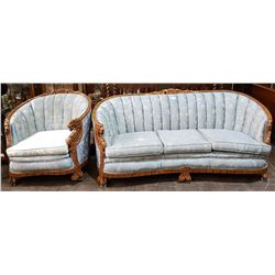 VINTAGE HIGHLY CARVED FIGURAL DRAGON SOFA & CHAIR