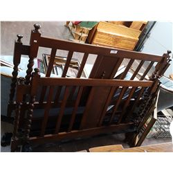 ANTIQUE OAK BARLEY TWIST HEADBOAR/FOOTBOARD & RAILS