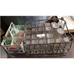 VINTAGE MILK BOTTLE CRATE W/MILK BOTTLES & PEPSI 6-PACK CARRIER
