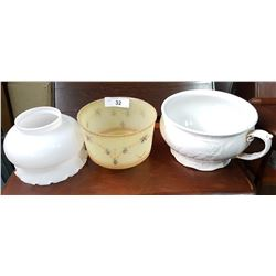 TWO VINTAGE GLASS SHADES & CHAMBER POT