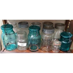 SHELF LOT ANTIQUE CANNING JARS
