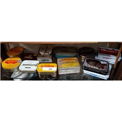 SHELF LOT APPROX 14 VINTAGE TOBACCO TINS