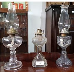 THREE VINTAGE OIL LAMPS