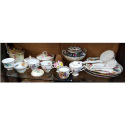 SHELF LOT TEACUPS, VICTORIAN PORCELAIN VASES ETC