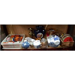 SHELF LOT VINTAGE TOBACCO & SPICE TINS ETC