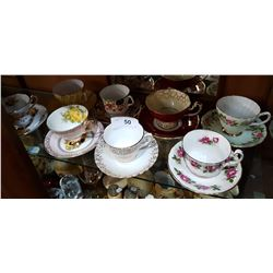 LOT OF 8 ENGLISH BONE CHINA TEACUPS/SAUCERS