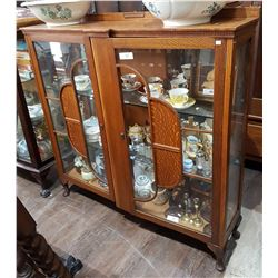 VINTAGE OAK DOUBLE DOOR DISPLAY CABINET