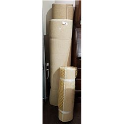 THREE ROLLS TAN CARPET