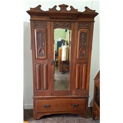 ANTIQUE CARVED MAHOGANY WARDROBLE