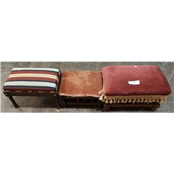THREE VINTAGE FOOTSTOOLS