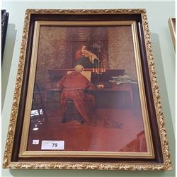 VINTAGE GILT FRAMED PRINT MAN PLAYING THE ORGAN