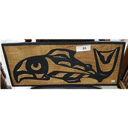 "SIGNED NATIVE CARVED PLAQUE ""MALE SALMON"""