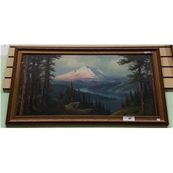 FRAMED OIL ON BOARD OF SNOWY MOUNTAIN