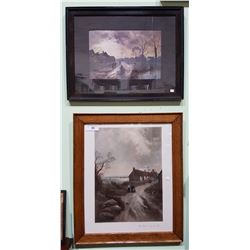 TWO VINTAGE FRAMED PRINTS