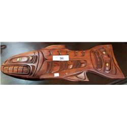 SIGNED NATIVE CARVED SALMON PLAQUE W/ABALONE INLAY