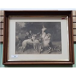 FRAMED SIGNED PRINT OF LADY W/DOGS