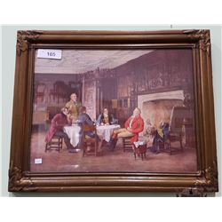 VINTAGE FRAMED PRINT OF GENTLEMAN AT TABLE