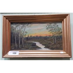 VINTAGE GILT FRAMED OIL ON BOARD SIGNED LAPOINTE